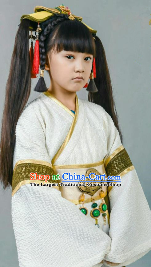 Chinese Historical Drama Swords of Legends Ancient Princess Shen Xi Costume and Headpiece for Kids