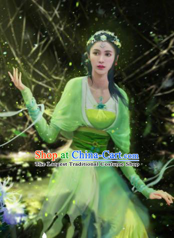 Chinese Historical Drama Swords of Legends Ancient Fairy A Ruan Green Costume and Headpiece for Women