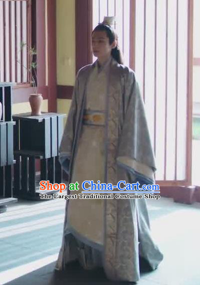 Chinese Drama Princess Silver Ancient Prince Rong Qi Historical Costume and Headwear for Men