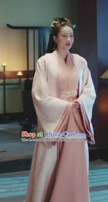 Chinese Ancient Palace Princess Rong Le Pink Historical Drama Princess Silver Costume and Headpiece for Women