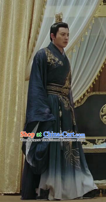 Chinese Drama Legend of the Phoenix Ancient Emperor Pang Tong Historical Costume and Headwear for Men