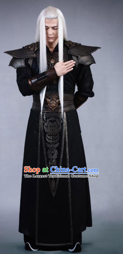 Swords of Legends Chinese Ancient Flamen Tong Black Clothing Historical Drama Costume and Headwear for Men