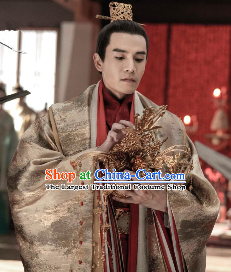 Drama Princess Silver Chinese Ancient Prince Fu Chou Historical Costume and Headwear for Men