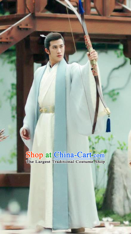 Chinese Drama Princess Silver Ancient Royal Prince Wu You Historical Costume and Headwear for Men