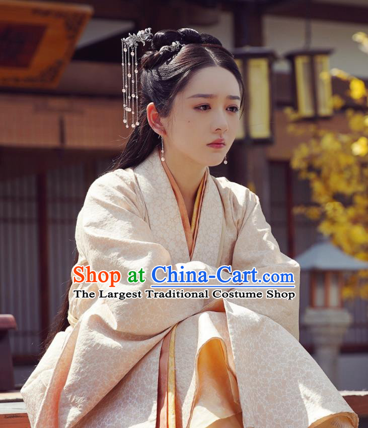 Chinese Drama Princess Silver Ancient Royal Infanta Zhao Yun Historical Costume and Headpiece for Women