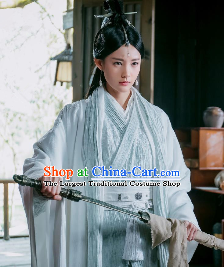 Chinese Ancient Female Swordsman Dress Historical Drama Sword Dynasty Gongsun Qianxue Costume and Headpiece for Women