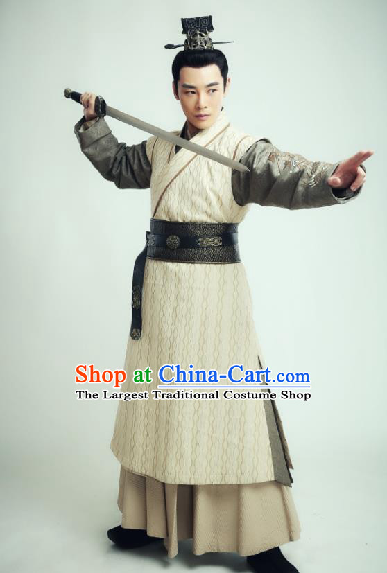 Drama Sword Dynasty Chinese Ancient Swordsman Fang Xiumu Costume and Headpiece Complete Set