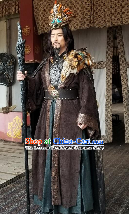 Drama Sword Dynasty Chinese Ancient King Zhan Moke Costume and Headpiece Complete Set