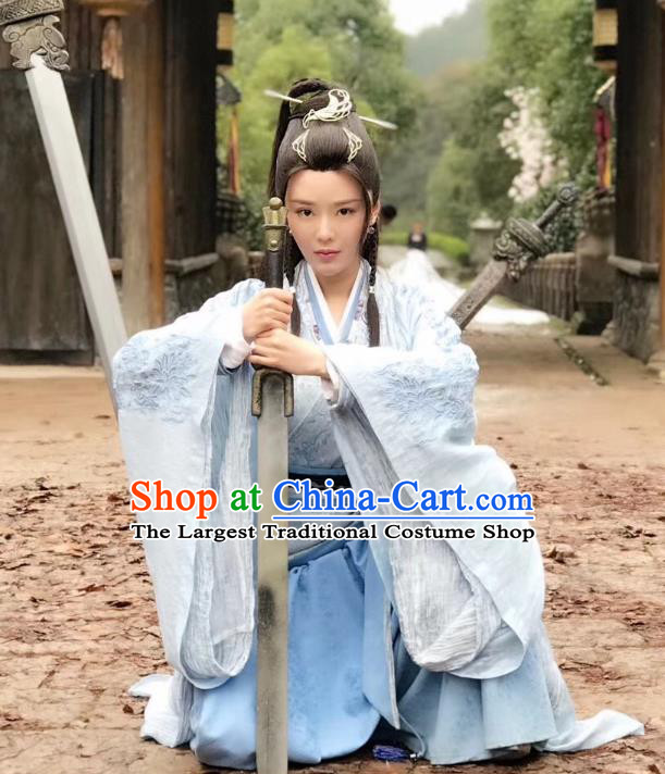 Chinese Ancient Female Swordsman Dress Historical Drama Sword Dynasty Nangong Caiwei Costume and Headpiece for Women