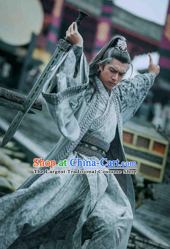 Drama Sword Dynasty Chinese Ancient Swordsman Knight Ding Ning Costume and Headpiece Complete Set