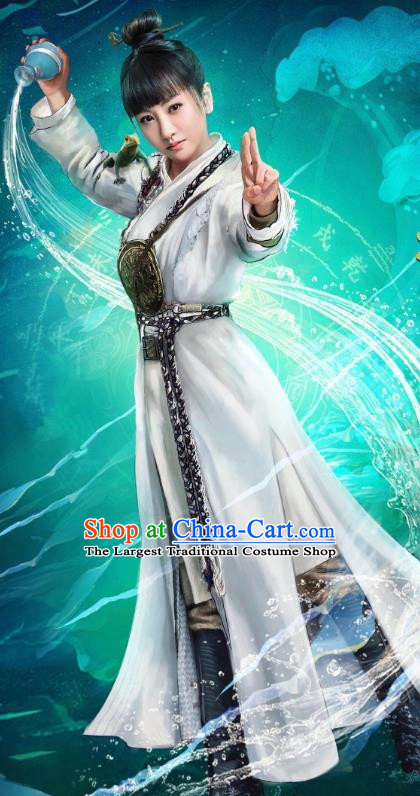 Chinese Ancient Female Swordsman Dress Historical Drama Demon Catcher Ling Xi Costume and Headpiece for Women