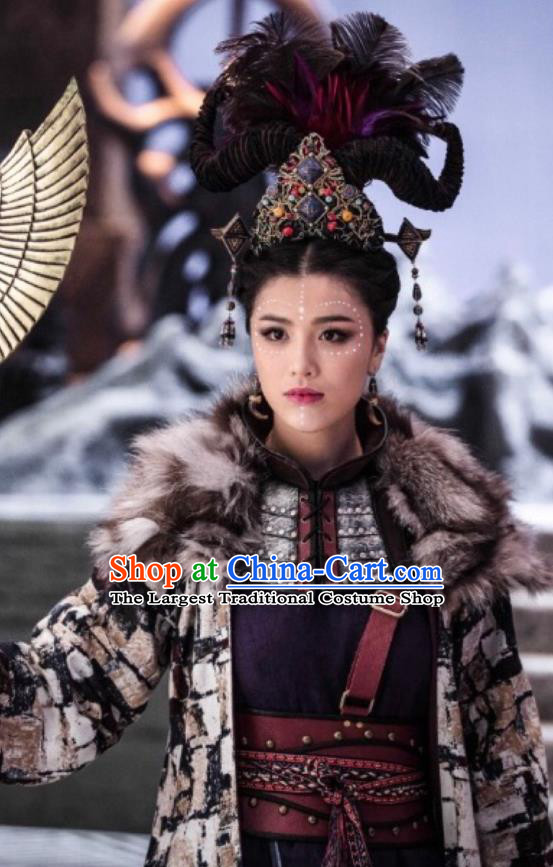 Chinese Ancient Demon Priestess Yue Lan Dress Historical Drama Demon Catcher Costume and Headpiece for Women