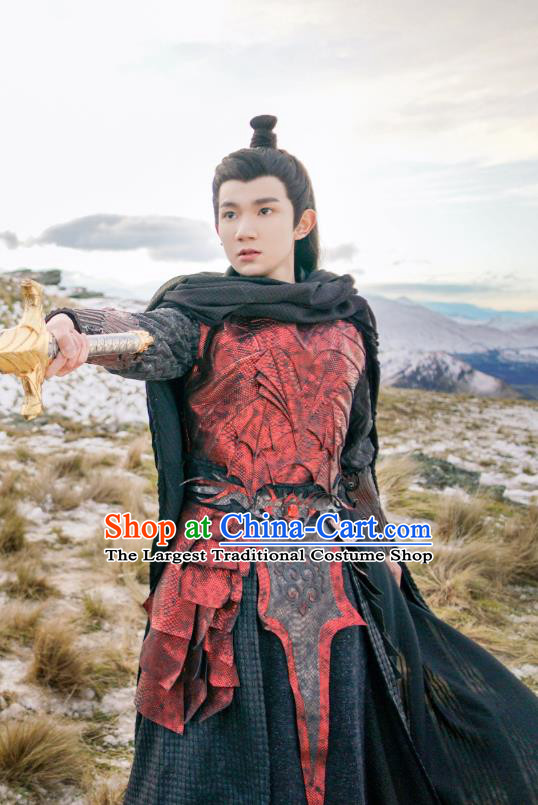 Drama The Great Ruler Chinese Ancient Swordsman Young Knight Mu Chen Costume and Headpiece Complete Set
