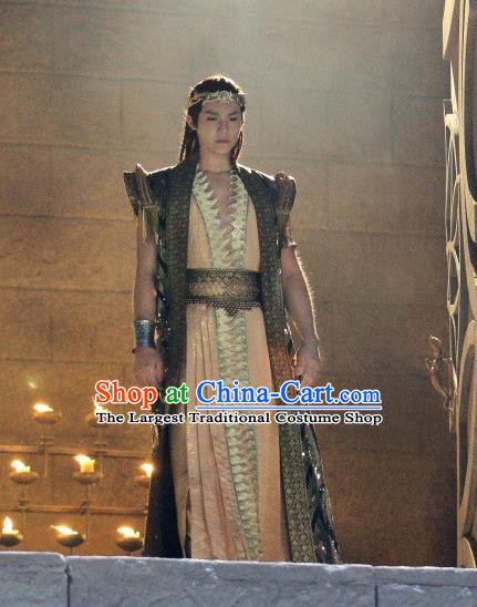 Drama An Oriental Odyssey Chinese Ancient Servant Mu Le Costume and Headpiece Complete Set