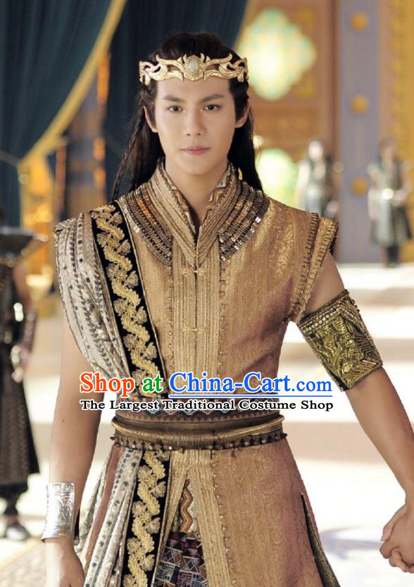 Drama An Oriental Odyssey Chinese Ancient Tang Dynasty Prince Mu Le Costume and Headpiece Complete Set
