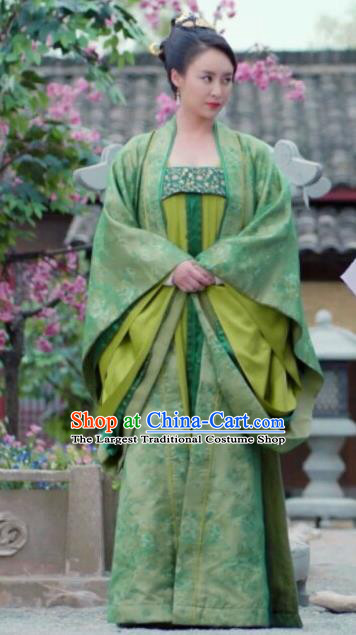 Chinese Ancient Tang Dynasty Empress Wu Zetian Green Dress Historical Drama An Oriental Odyssey Costume and Headpiece for Women