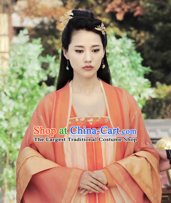 Chinese Ancient Tang Dynasty Royal Infanta Ming Hui Dress Historical Drama An Oriental Odyssey Costume and Headpiece for Women