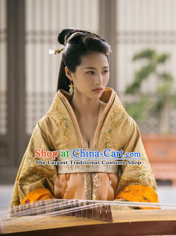 Chinese Ancient Tang Dynasty Royal Princess Ming Hui Dress Historical Drama An Oriental Odyssey Costume and Headpiece for Women