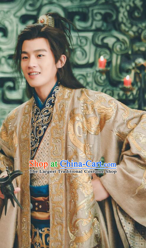 Drama Hero Dream Chinese Ancient Han Dynasty Minister Han Xin Costume and Headpiece Complete Set