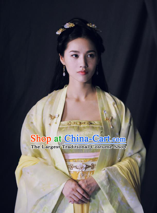Chinese Ancient Tang Dynasty Princess Ming Hui Yellow Dress Historical Drama An Oriental Odyssey Costume and Headpiece for Women