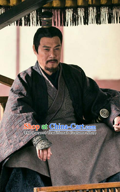 Drama Hero Dream Chinese Ancient Han Dynasty Minister Xiang Liang Costume and Headpiece Complete Set