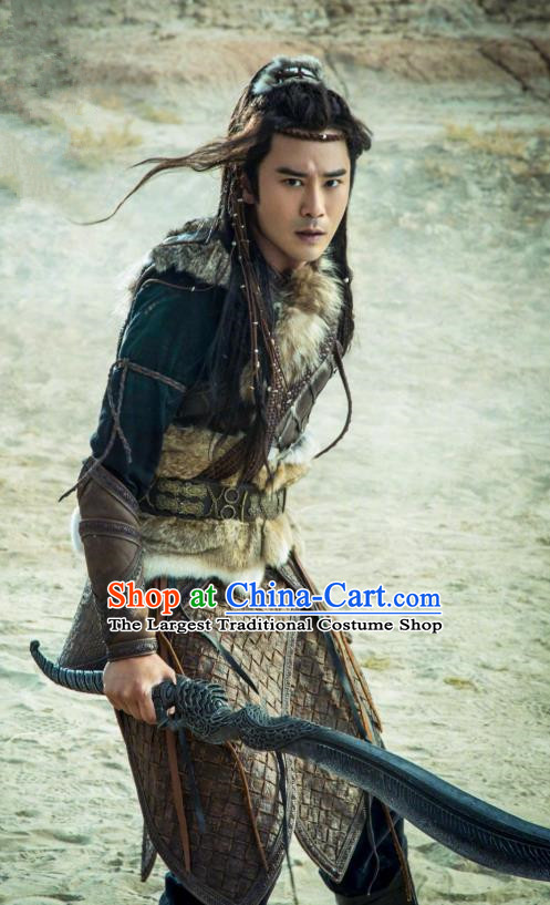 Drama The Legend of Jade Sword Chinese Ancient Swordsman Ji Nong Costume and Headpiece Complete Set