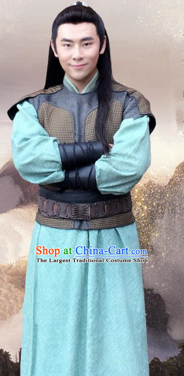 Drama The Legend of Jade Sword Chinese Ancient Swordsman Yue Gu Costume and Headpiece Complete Set