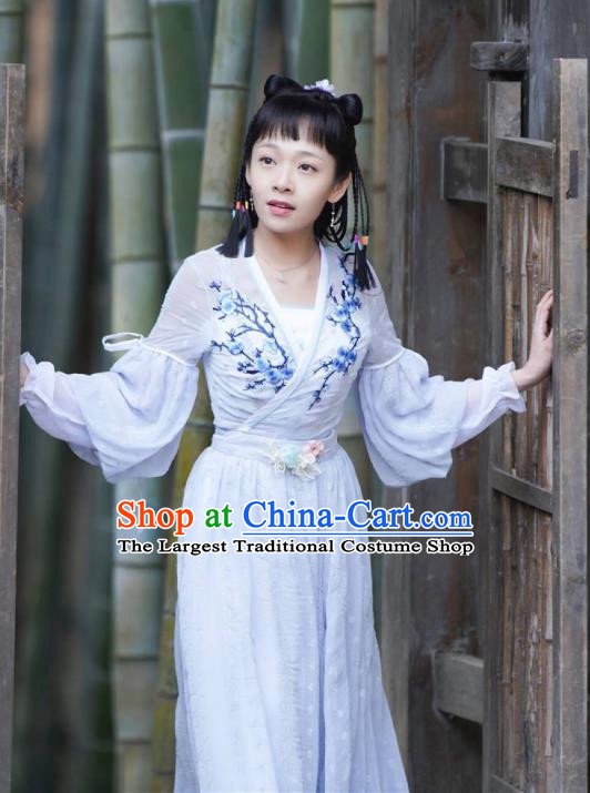 Chinese Ancient Servant Girl Xi Que Dress Historical Drama Jueshi Qianjin Costume and Headpiece for Women