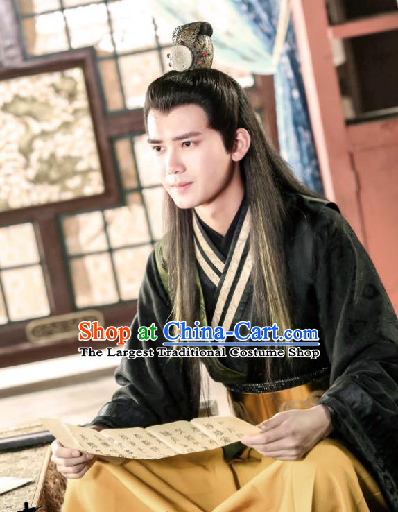 Chinese Ancient Swordsman Hanfu Robe Drama Men with Sword Zhong Kunyi Costumes and Hair Crown
