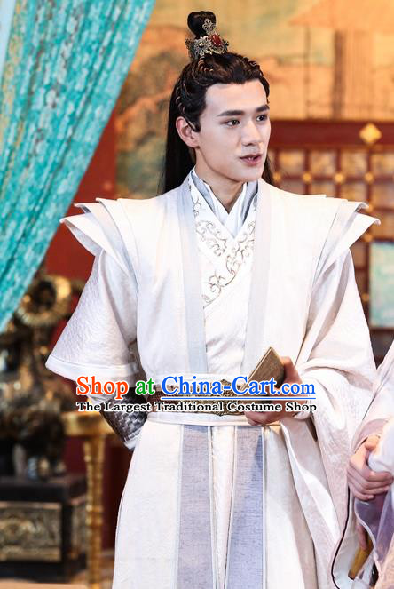 Drama Men with Sword Chinese Ancient General Qi Zhikan Costume and Headpiece Complete Set