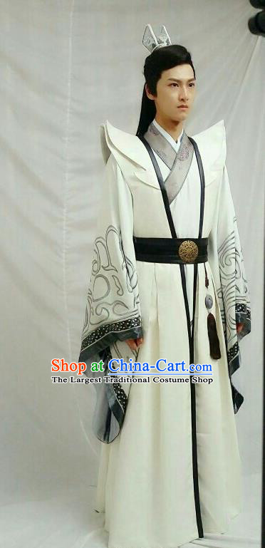 Drama Men with Sword Chinese Ancient Monarch King Jian Bin Costume and Headpiece Complete Set