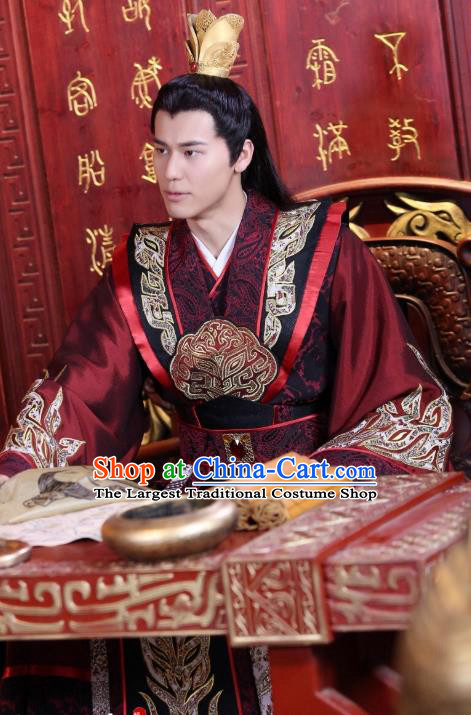 Drama Men with Sword Chinese Ancient Monarch King Qi Kun Costume and Headpiece Complete Set
