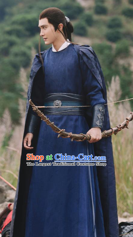Chinese Ancient Archmage of Biyi Bird Tribe Shen Ye Drama Sansheng Sanshi Pillow Eternal Love of Dream Costume and Headpiece Complete Set