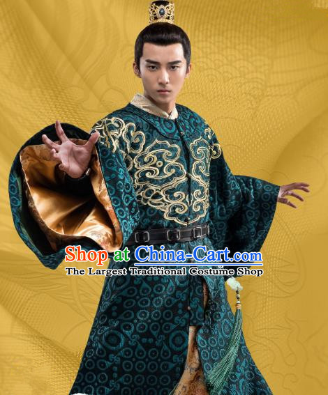 Chinese Ancient Royal Prince Green Clothing and Hairdo Crown Drama Oh My Emperor Beitang Jing Costumes