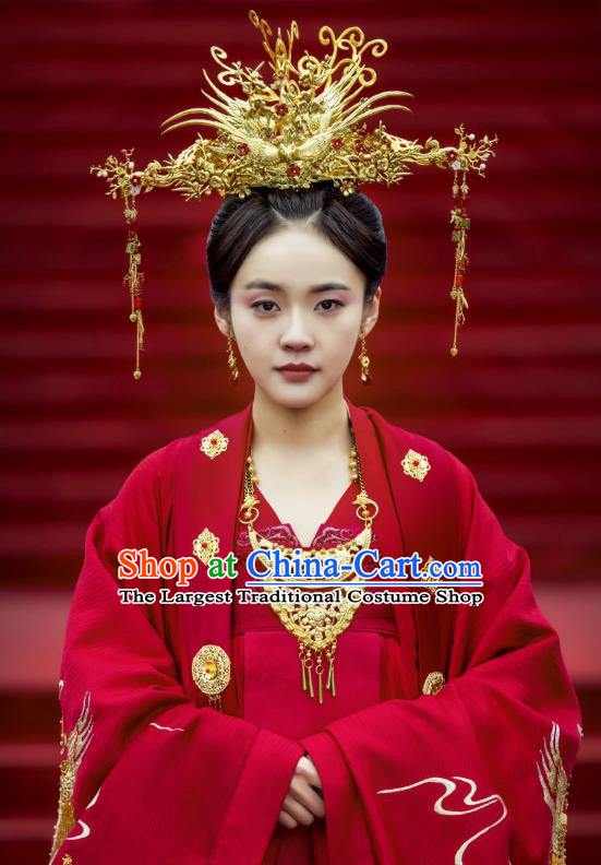 Chinese Ancient Princess Wedding Historical Costumes and Phoenix Coronet Drama Tang Dynasty Tour Li Anlan Red Hanfu Dress