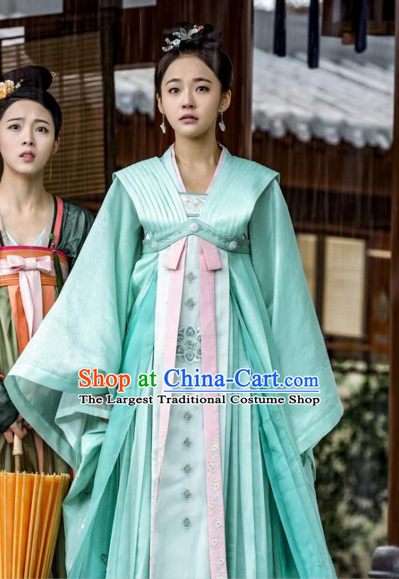 Chinese Ancient Court Princess Historical Costumes and Hair Accessories Drama Tang Dynasty Tour Li Anlan Green Hanfu Dress