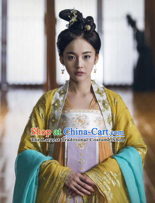 Chinese Ancient Palace Princess Historical Costumes and Hair Accessories Drama Tang Dynasty Tour Li Anlan Hanfu Dress