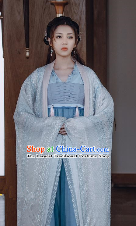 Chinese Ancient Gifted Lady Historical Costumes and Hairpin Drama Tang Dynasty Tour Lu Xinyue Blue Hanfu Dress