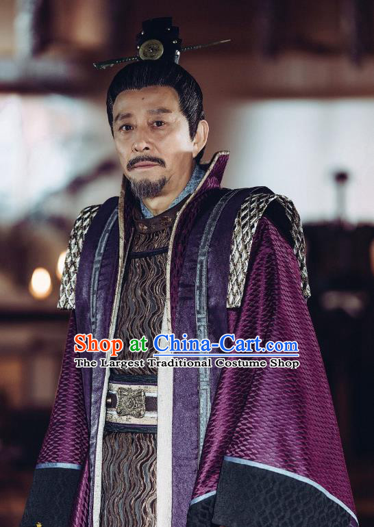 Chinese Ancient Chancellor Clothing and Headwear Drama Tang Dynasty Tour Wei Zheng Purple Official Costumes