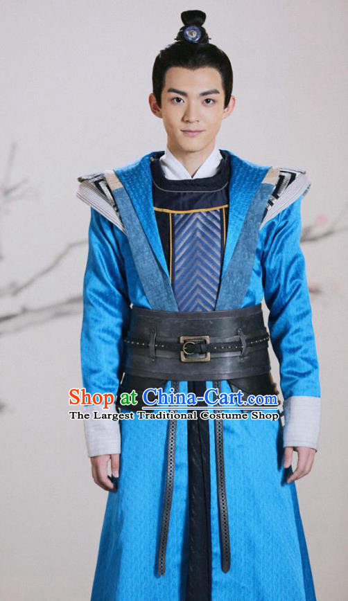 Chinese Ancient Young Knight Clothing and Headwear Drama Tang Dynasty Tour Swordsman Cheng Chumo Blue Costumes