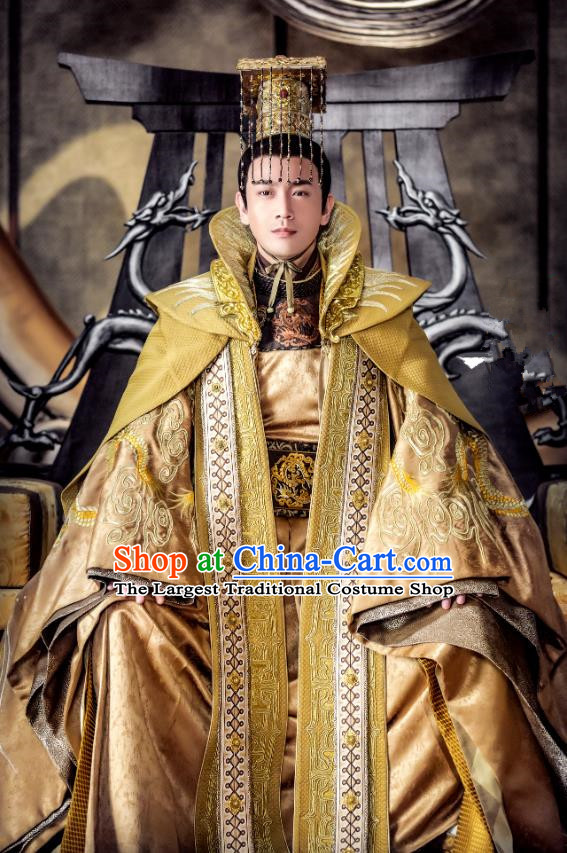 Chinese Ancient Emperor Golden Clothing and Headwear Drama Tang Dynasty Tour Tai Emperor Li Shimin Costumes