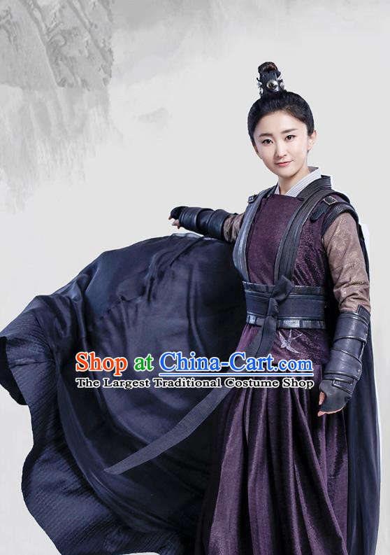 Chinese Ancient Female Knight Historical Costumes and Headpieces Drama Tang Dynasty Tour Swordswoman Tian Ruolan Dresses