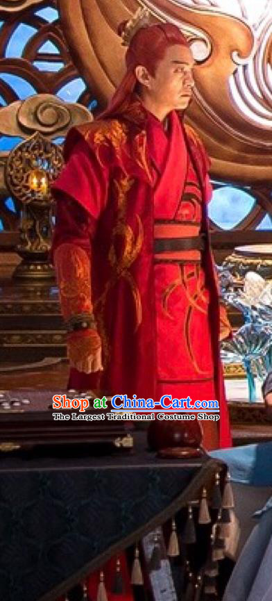 Chinese Ancient Clothing and Hairdo Crown Drama The Taosim Crandmaster Swordsman Red Costumes