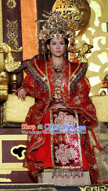 Chinese Ancient Wedding Costumes Historical Drama Love Amongst War Wang Baochuan Red Dress and Hair Crown Complete Set