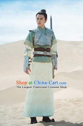 Chinese Ancient Armor Clothing and Jade Hairpin Drama The Taosim Crandmaster Swordsman Costumes and Hairdo Crown