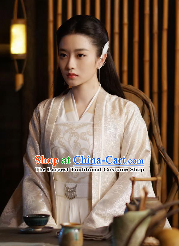 Chinese Ancient Princess of the Biyi Bird Tribe Drama Sansheng Sanshi Pillow Eternal Love of Dream Xiangli Ju Nuo Dress and Hair Accessories Complete Set