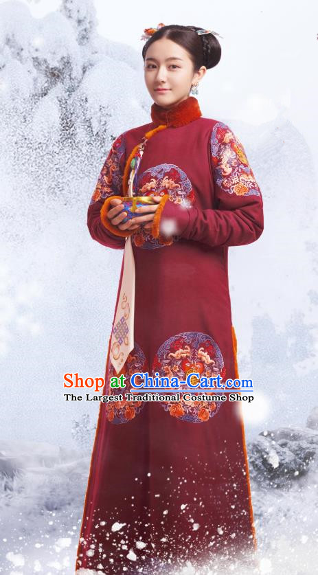 Chinese Ancient Garment Manchu Historical Costumes and Hairpins Drama Dreaming Back to the Qing Dynasty Princess Consort Ming Wei Qipao Dress