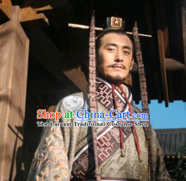 Chinese Ancient Tang Dynasty Costumes Emperor Apparels Garment and Hairdo Crown Drama Control by Zhen Guan Li Shimin Costume