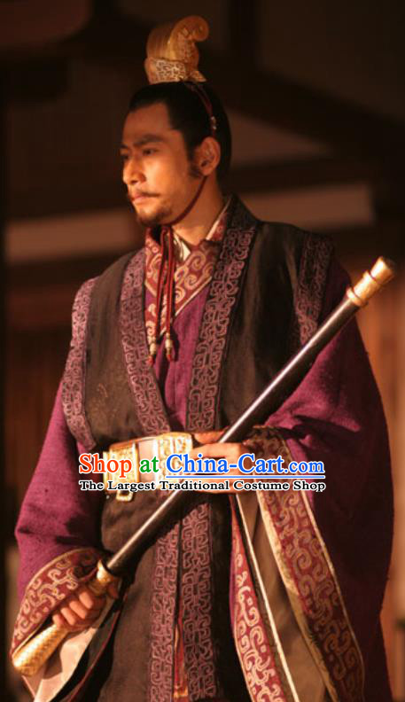 Chinese Ancient Tang Dynasty Emperor Costumes Li Shimin Apparels Garment and Hairdo Crown Drama Control by Zhen Guan Costume