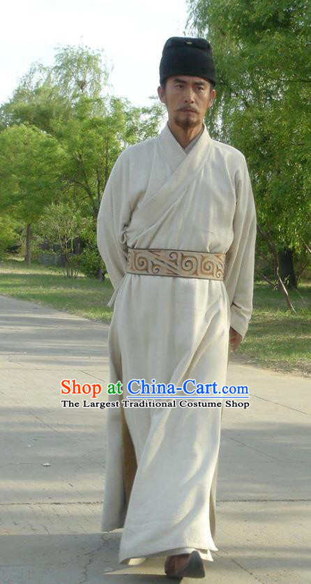 Chinese Ancient Tang Dynasty Tai Emperor Costumes White Apparels Garment and Hat Drama Control by Zhen Guan Li Shimin Costume